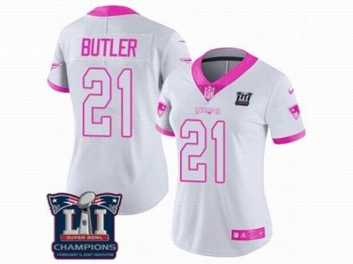 Women Nike New England Patriots #21 Malcolm Butler Limited White Pink Rush Fashion Super Bowl LI Champions NFL Jersey