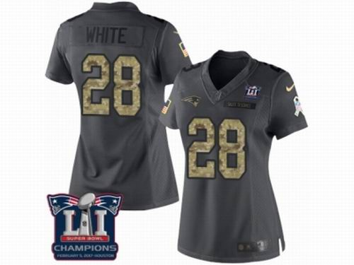 Women Nike New England Patriots #28 James White Limited Black 2016 Salute to Service Super Bowl LI Champions NFL Jersey