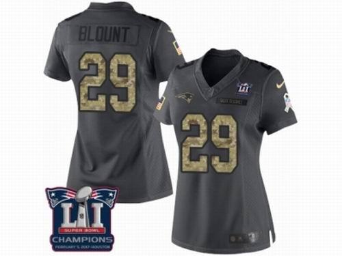 Women Nike New England Patriots #29 LeGarrette Blount Limited Black 2016 Salute to Service Super Bowl LI Champions NFL Jersey