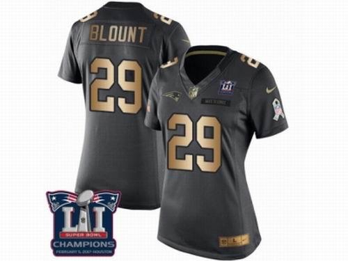 Women Nike New England Patriots #29 LeGarrette Blount Limited Black Gold Salute to Service Super Bowl LI Champions NFL Jersey