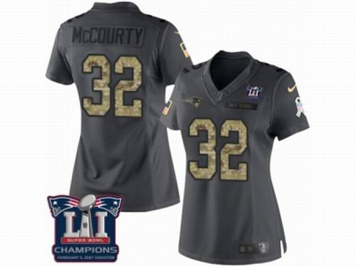 Women Nike New England Patriots #32 Devin McCourty Limited Black 2016 Salute to Service Super Bowl LI Champions Jersey