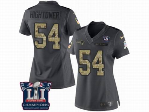 Women Nike New England Patriots #54 Dont'a Hightower Limited Black 2016 Salute to Service Super Bowl LI Champions Jersey