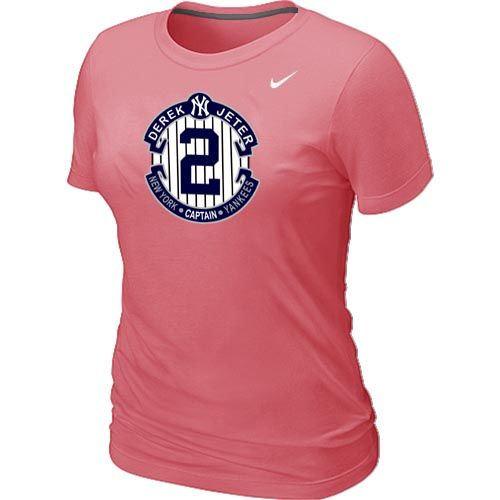 Women Nike New York Yankees 2 Derek Jeter Official Final Season Commemorative Logo Blended T-Shirt Pink