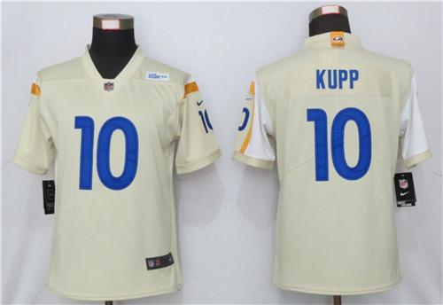 Women Nike Rams 10 Cooper Kupp Bone 2020 New Vapor Untouchable Limited Jersey