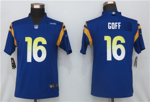 Women Nike Rams 16 Jared Goff Royal 2020 New Vapor Untouchable Limited Jersey