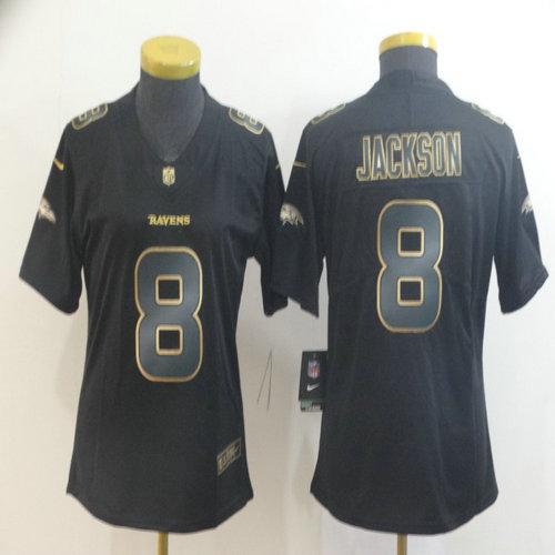 Women Nike Ravens 8 Lamar Jackson Black Gold Women Vapor Untouchable Limited Jersey