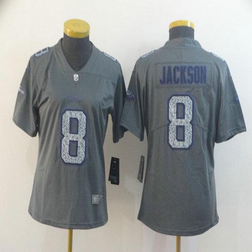 Women Nike Ravens 8 Lamar Jackson Gray Camo Women Vapor Untouchable Limited Jersey