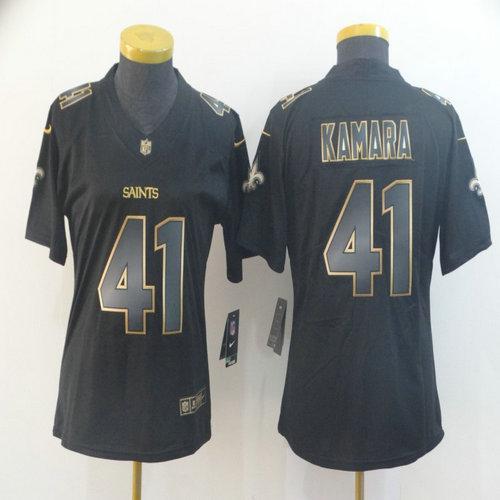 Women Nike Saints 41 Alvin Kamara Black Gold Women Vapor Untouchable Limited Jersey