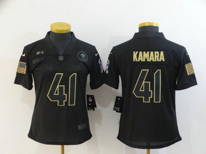 Women Nike Saints 41 Alvin Kamara Black Women 2020 Salute To Service Limited Jersey