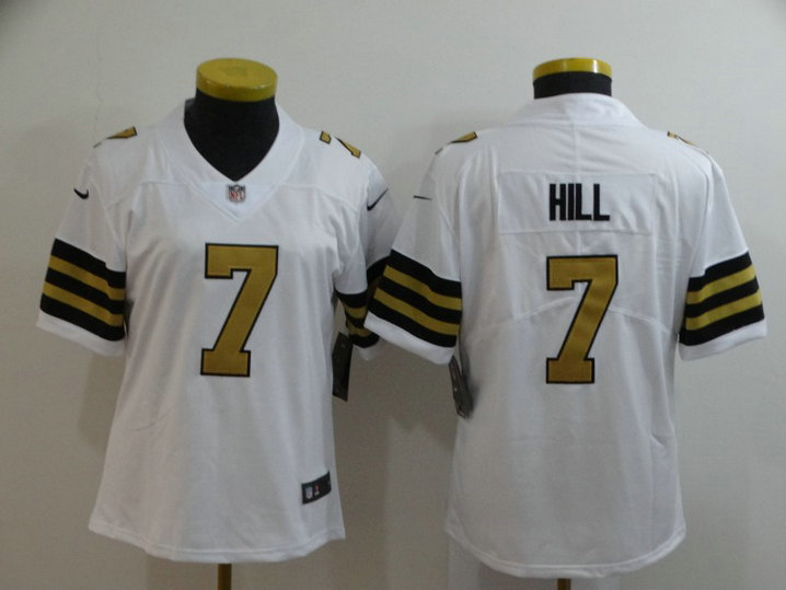 Women Nike Saints 7 Taysom Hill White Women Color Rush Limited Jersey