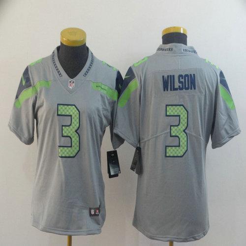 Women Nike Seahawks 3 Russell Wilson Gray Women Inverted Legend Limited Jersey