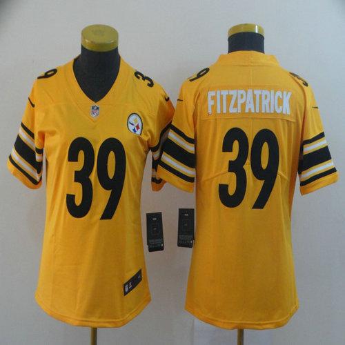 Women Nike Steelers 39 Minkah Fitzpatrick Yellow Women Inverted Legend Limited Jersey