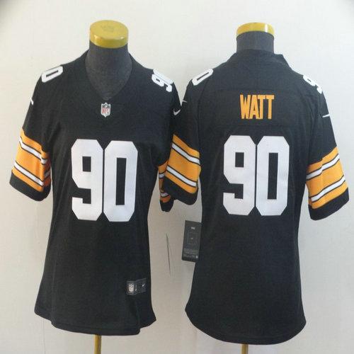 Women Nike Steelers 90 T.J. Watt Black Alternate Women Vapor Untouchable Limited Jersey