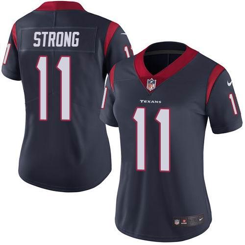 Women Nike Texans #11 Jaelen Strong Navy Blue Team Color Vapor Untouchable Limited Jersey