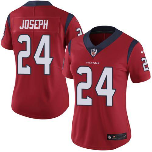 Women Nike Texans #24 Johnathan Joseph Red Vapor Untouchable Limited Jersey