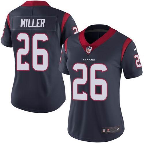 Women Nike Texans #26 Lamar Miller Navy Blue Team Color Vapor Untouchable Limited Jersey