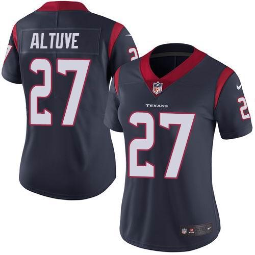 Women Nike Texans #27 Jose Altuve Navy Blue Team Color Vapor Untouchable Limited Jersey