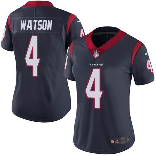 Women Nike Texans #4 Deshaun Watson Navy Blue Team Color Vapor Untouchable Limited Jersey