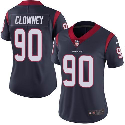 Women Nike Texans #90 Jadeveon Clowney Navy Blue Team Color Vapor Untouchable Limited Jersey