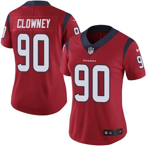 Women Nike Texans #90 Jadeveon Clowney Red Vapor Untouchable Limited Jersey