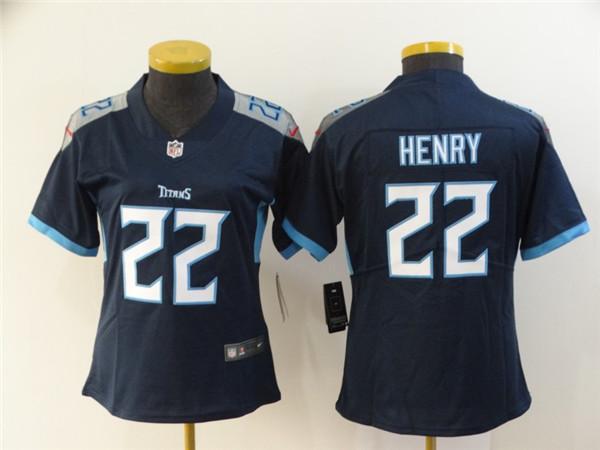 Women Nike Titans 22 Derrick Henry Navy Women New Vapor Untouchable Limited Jersey