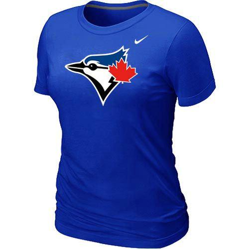 Women Nike Toronto Blue Jays Authentic Logo T-Shirt Blue