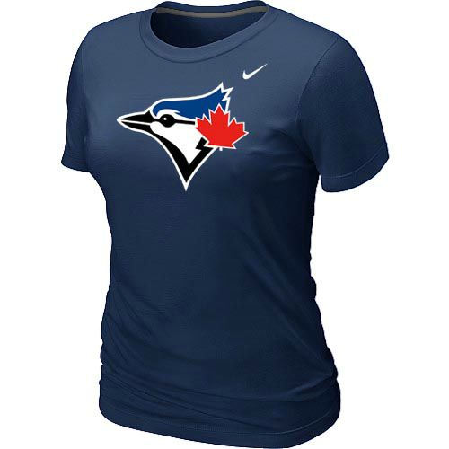 Women Nike Toronto Blue Jays Authentic Logo T-Shirt Dark Blue