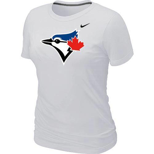 Women Nike Toronto Blue Jays Authentic Logo T-Shirt White