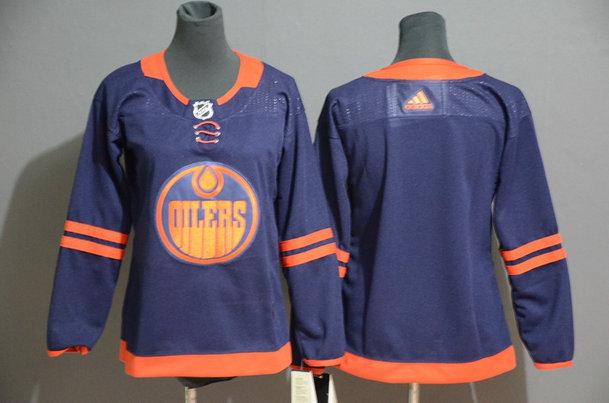 Women Oilers Blank Navy Women 50th Anniversary Adidas Jersey