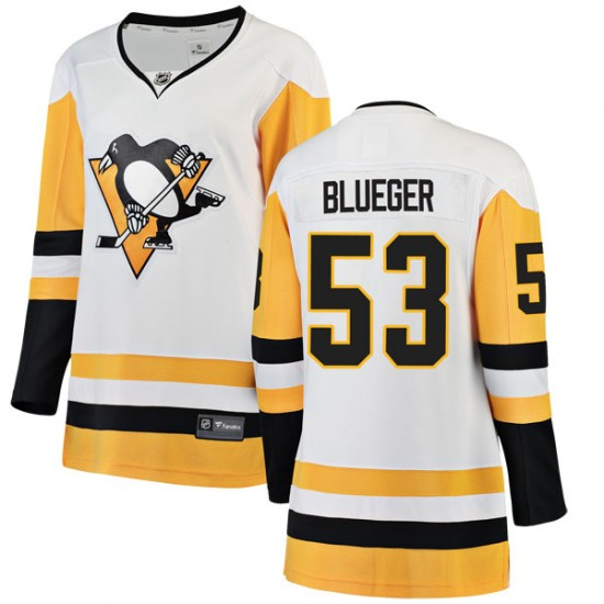 Women Penguins #53 Teddy Blueger White Hockey Jersey