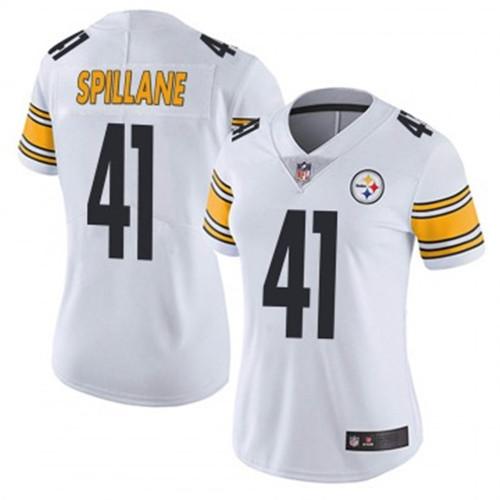 Women Steelers #41 Robert Spillane Vapor Limited White Jerseys