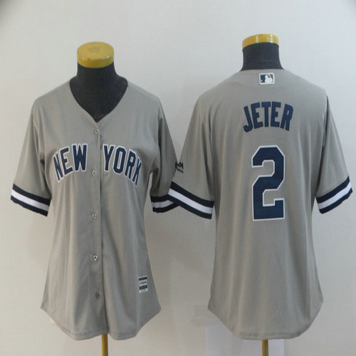 Women Yankees 2 Derek Jeter Gray Women Cool Base Jersey