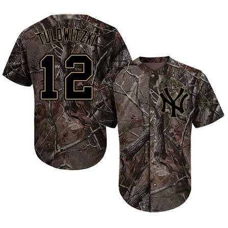 Yankees #12 Troy Tulowitzki Camo Realtree Collection Cool Base Stitched Youth Baseball Jersey