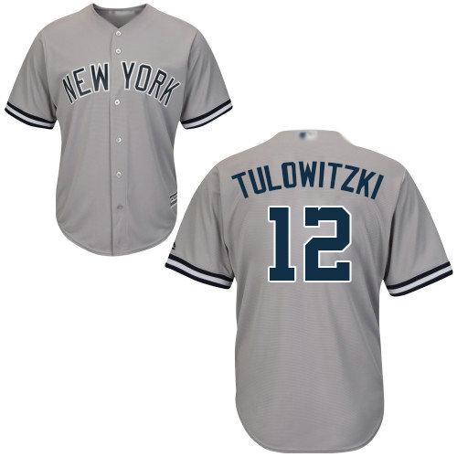 Yankees #12 Troy Tulowitzki Grey Cool Base Stitched Youth Baseball Jersey