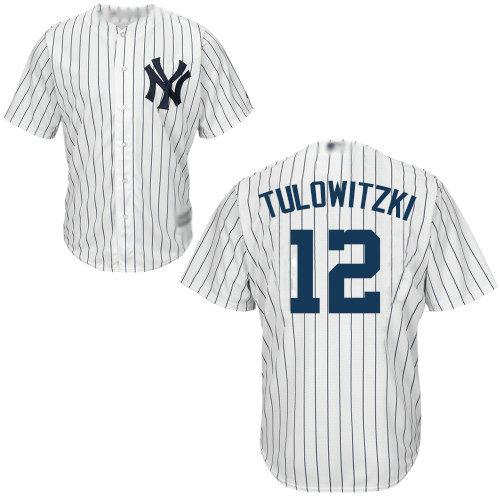 Yankees #12 Troy Tulowitzki White Cool Base Stitched Youth Baseball Jersey