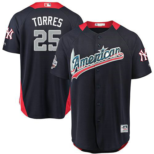 Yankees #25 Gleyber Torres Navy Blue 2018 All-Star American League Stitched Baseball Jersey