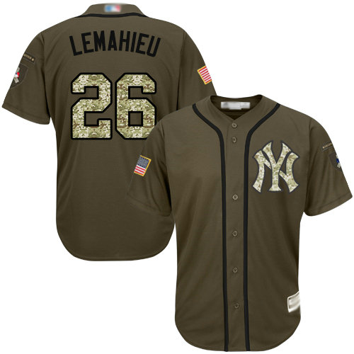 Yankees #26 DJ LeMahieu Green Salute to Service Stitched Youth Baseball Jersey
