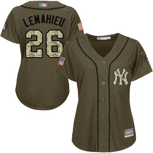 Yankees #26 DJ LeMahieu Green Salute to Service Women's Stitched Baseball Jersey