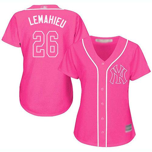 Yankees #26 DJ LeMahieu Pink Fashion Women's Stitched Baseball Jersey