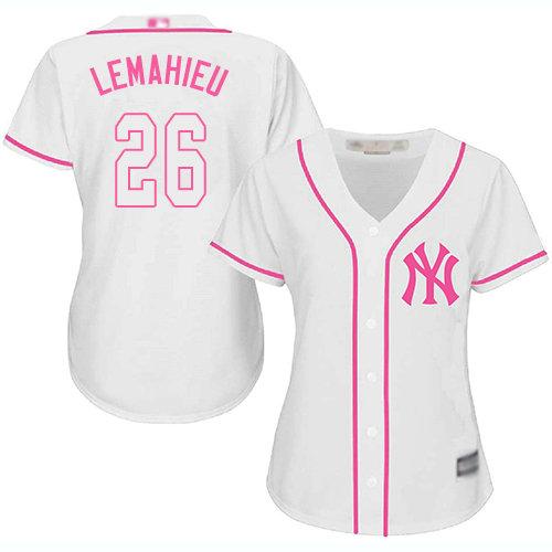 Yankees #26 DJ LeMahieu White Pink Fashion Women's Stitched Baseball Jersey