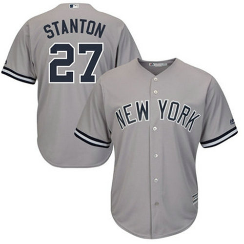 Yankees #27 Giancarlo Stanton Grey Cool Base Stitched Youth MLB Jersey