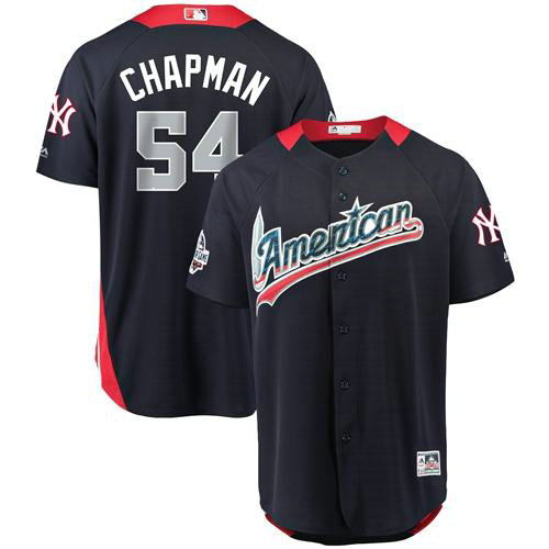 Yankees #54 Aroldis Chapman Navy Blue 2018 All-Star American League Stitched Baseball Jersey