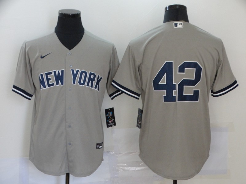 Yankees 42 Mariano Rivera Gray Nike Cool Base Jersey