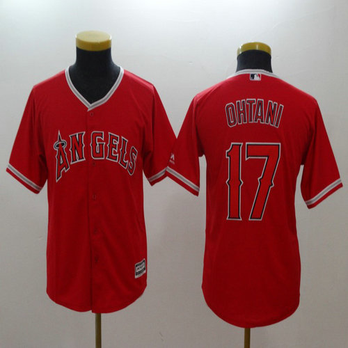 Youth  Angels #17 Shohei Ohtani Red Youth Cool Base Jersey