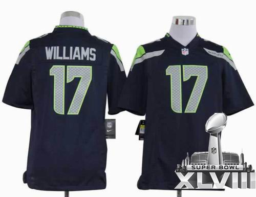 Youth 2012 Nike Seattle Seahawks 17# Mike Williams Game Team Color 2014 Super bowl XLVIII(GYM) Jersey