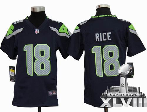 Youth 2012 Nike Seattle Seahawks 18# Sidney Rice team Color Game 2014 Super bowl XLVIII(GYM) Jersey