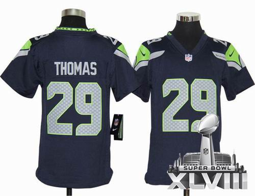 Youth 2012 Nike Seattle Seahawks 29# Earl Thomas team color Game 2014 Super bowl XLVIII(GYM) Jersey