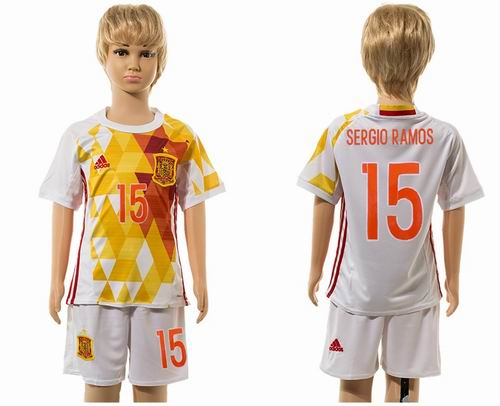 Youth 2016 European Cup series Spain away #15 sergio ramos soccer jerseys