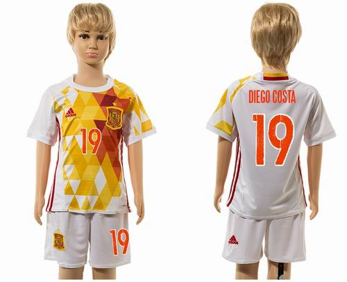Youth 2016 European Cup series Spain away #19 diego costa soccer jerseys