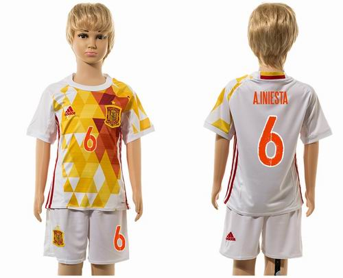 Youth 2016 European Cup series Spain away #6 A.Iniesta soccer jerseys